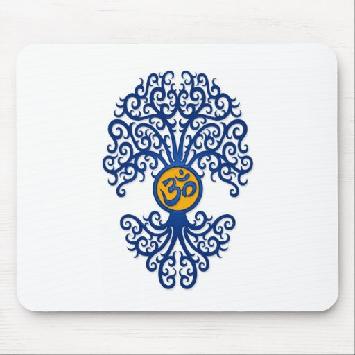 Blue and Yellow Yoga Om Tree on White Mousepads