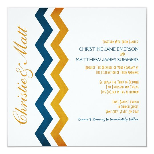 Blue and Yellow Zig Zag Wedding Invitations