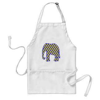 Blue and Yellow Zigzag Elephant Adult Apron