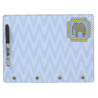 Blue and Yellow Zigzag Elephant Dry Erase Board With Keychain Holder