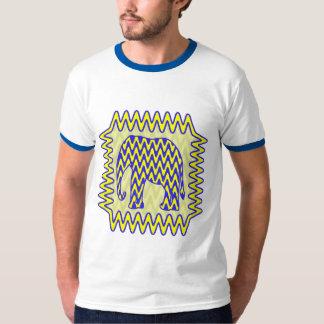 Blue and Yellow Zigzag Elephant Shirt