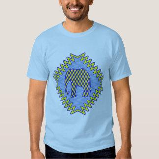 Blue and Yellow Zigzag Elephant Tee Shirt