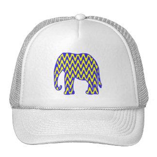 Blue and Yellow Zigzag Elephant Trucker Hat