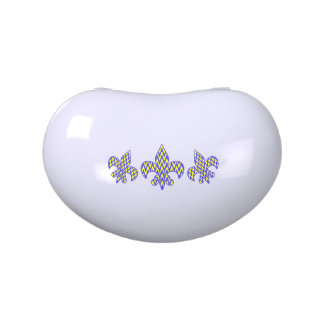 Blue and Yellow Zigzag Fleur de lis Jelly Belly Tin