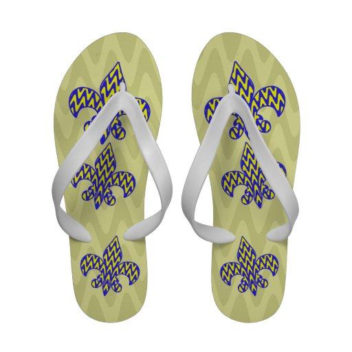 Blue and Yellow Zigzag Fleur de lis Flip-Flops