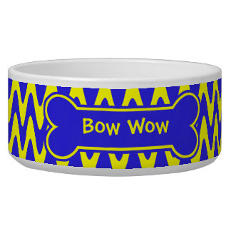 Blue and Yellow Zigzag Dog Food Bowl