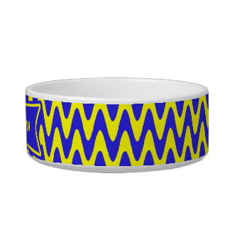 Blue and Yellow Zigzag Cat Bowl