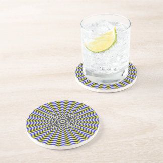 Blue and Yellow Zigzag Ripples Coaster
