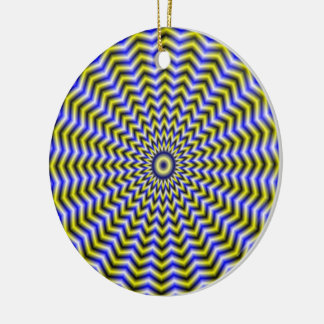 Blue and Yellow Zigzag Ripples Ornament