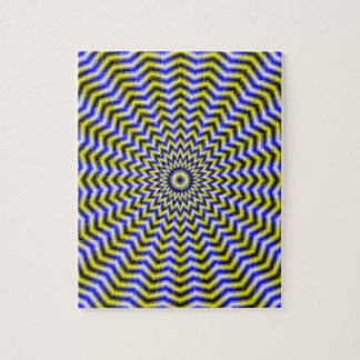 Blue and Yellow Zigzag Ripples Puzzle