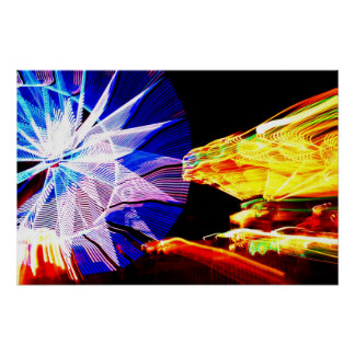 BLue and Yellow Zoomed Fair Rides Poster