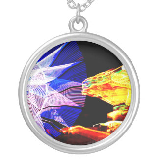 BLue and Yellow Zoomed Fair Rides Silver Plated Necklace