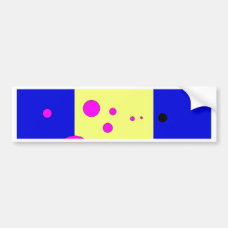 Blue and yelow with pink-black bubbles bumper sticker