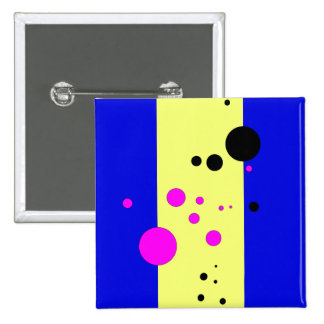 Blue and yelow with pink-black bubbles pinback button