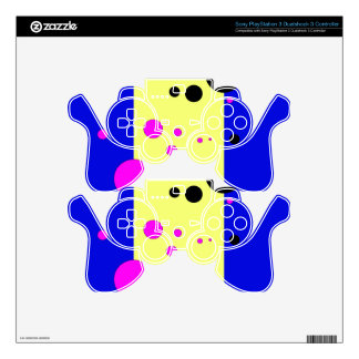 Blue and yelow with pink-black bubbles PS3 controller decal