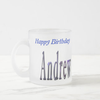 Blue Andrew Name Logo, Frosted Glass Coffee Mug