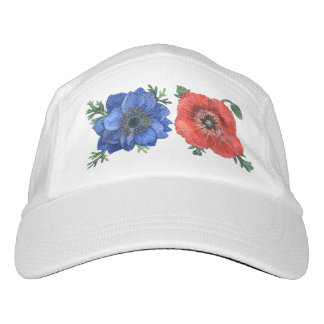 Blue anemone & poppy flowers headsweats hat