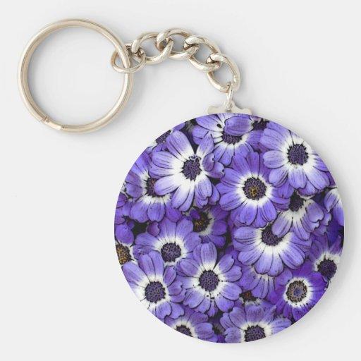 Blue Anemones Basic Round Button Keychain