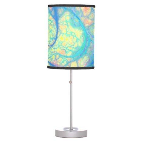 Blue Angel, Abstract Cosmic, Azure, Lemon Table Lamp