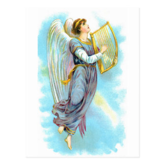 Blue Angel And Harp Postcard