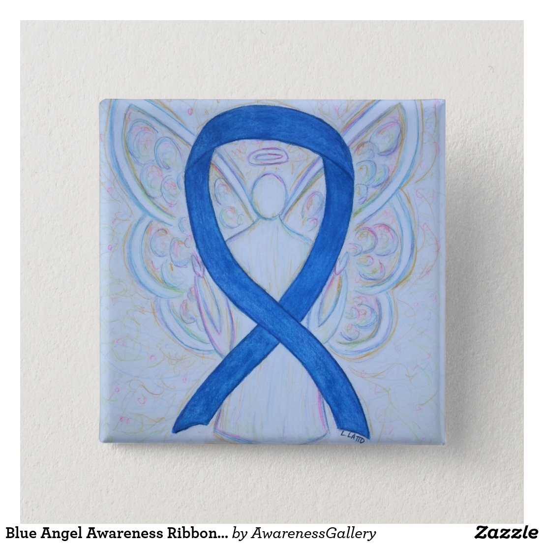 Blue Angel Awareness Ribbon Custom Art Pins