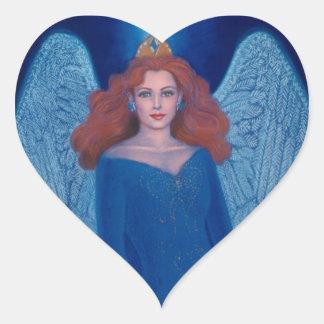Blue Angel Heart Sticker