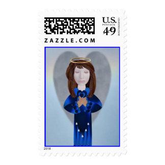 Blue Angel in Prayer Stamp