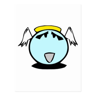 blue angel smiley with wings postcard