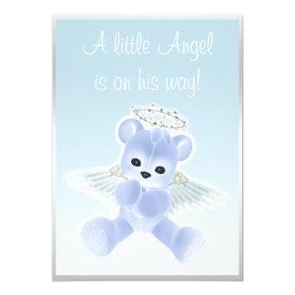 Blue Angel Teddy Bear Baby Shower 5x7 Paper Invitation Card