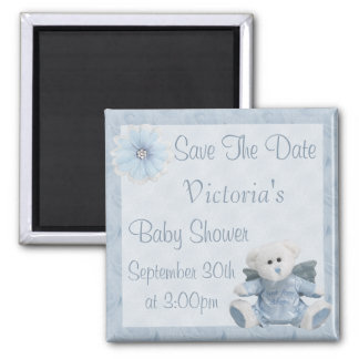 Blue Angel Teddy Bear Save the Date Baby Shower 2 Inch Square Magnet