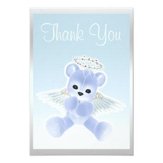 Blue Angel Teddy Bear Thank You Baby Shower Card