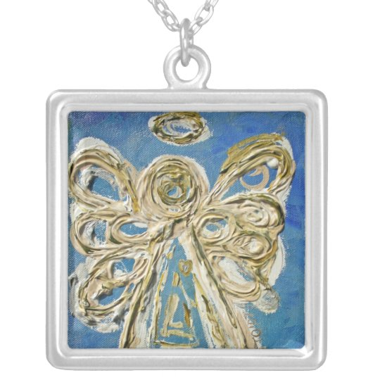 Blue Angel Wings Silver Necklace Charm Pendant