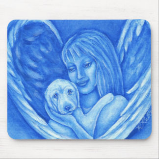 Blue Angel with Puppy Dog Mousepad