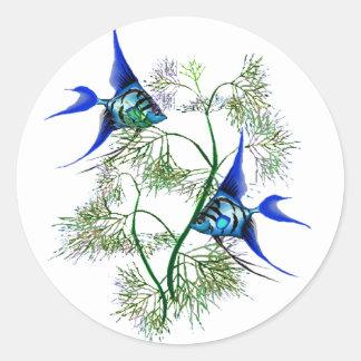 Blue Angelfish in Plants Classic Round Sticker