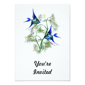 Blue Angelfish in Plants 5x7 Paper Invitation Card