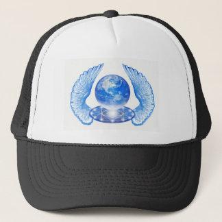 Blue Angelic Planet Earth Wings Trucker Hat