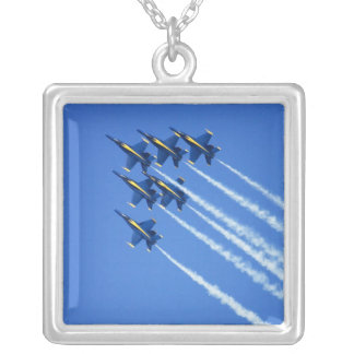 Blue Angels flyby during 2006 Fleet Week 2 Silver Plated Necklace