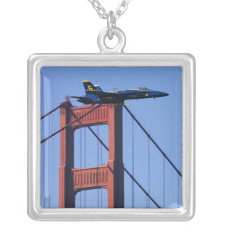Blue Angels flyby during 2006 Fleet Week 3 Silver Plated Necklace