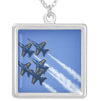 Blue Angels flyby during 2006 Fleet Week Silver Plated Necklace