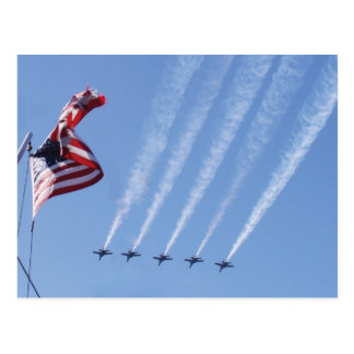 Blue Angels flying and an American Flag flying Postcard