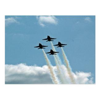 Blue angels in air show postcard