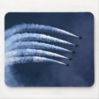 Blue angels in graceful arch formation mousepads