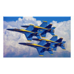 Blue Angels in the clouds Poster