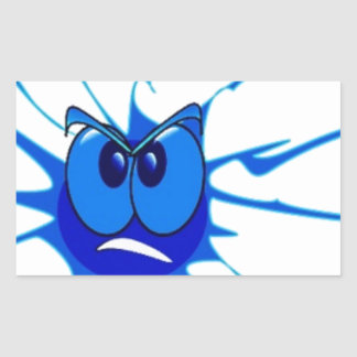 Blue Angry Splat Smiley Rectangular Sticker