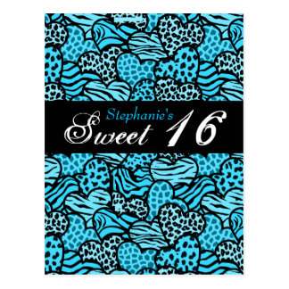 Blue animal pattern hearts Sweet 16 Postcard