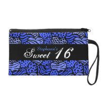 Blue animal pattern hearts Sweet 16 Wristlet
