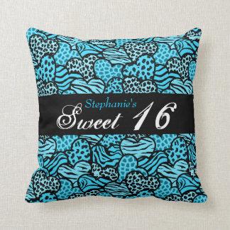 Blue animal pattern hearts Sweet Sixteen Pillow