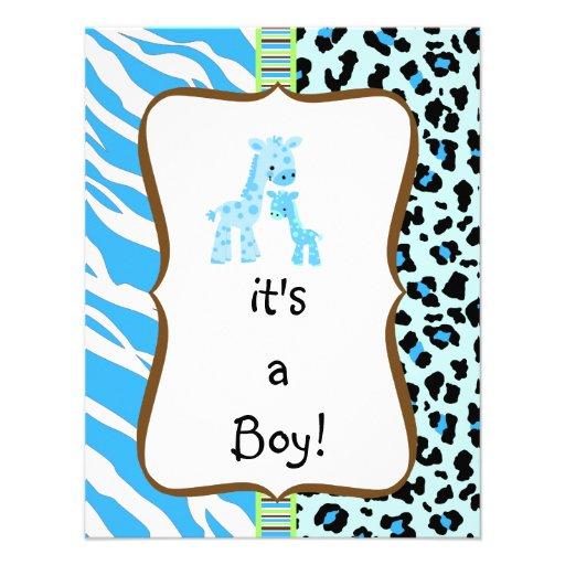 blue animal print baby shower invitation x 5 5 invitation ca