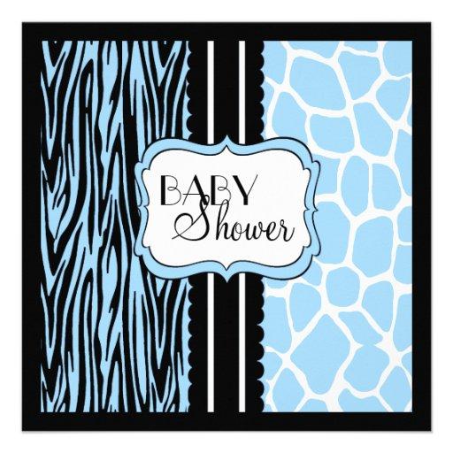 blue animal print baby shower invitation zazzle