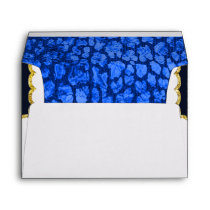 Blue Animal Print Black Gold Envelope